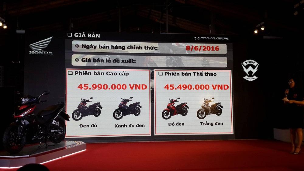 Honda Winner 150 chốt giá từ 45,5 triệu đồng, bán ra từ 8/6